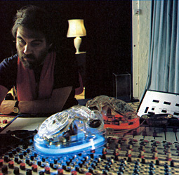 Vangelis at his legendary sound laboratory
